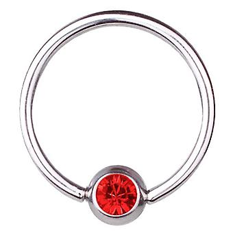 BCR Titan Piercing, bollen stängning Ring 1,6 mm, SWAROVSKI element röd | 8-16mm