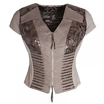 Dimare Women's Capped Sleeve Zip Up Jacket