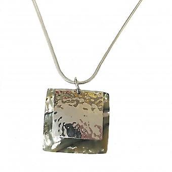 """Cavendish French Silver Irridescent square pendant with 16""""-18"""" silver chain"""