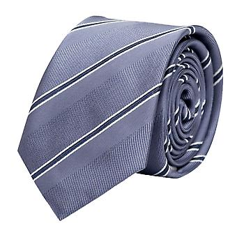 Knyta slips tie slips 6cm grå vit grå rand Fabio Farini