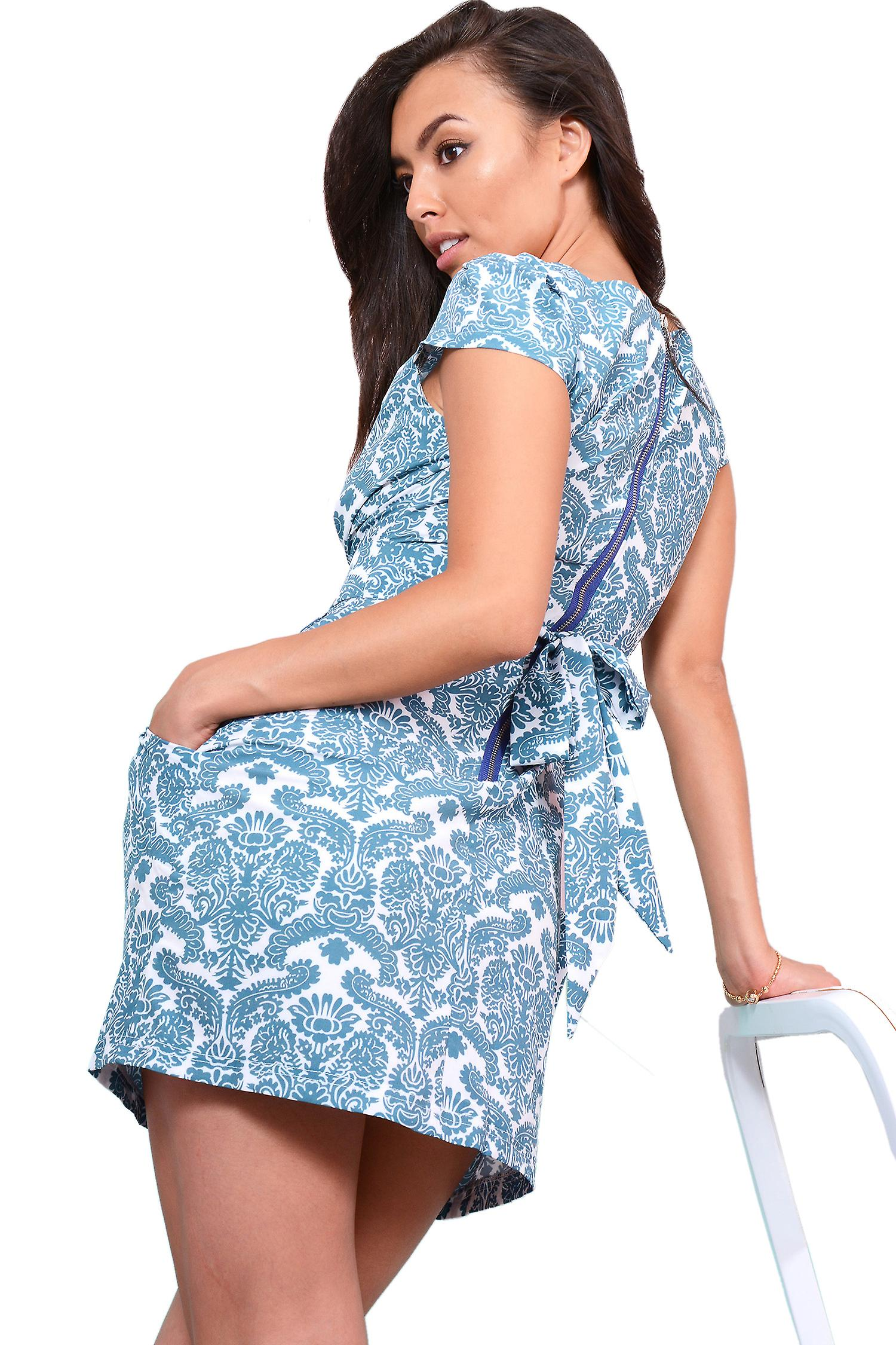LMS White Structured Dress With Turquoise Blue Paisley Print