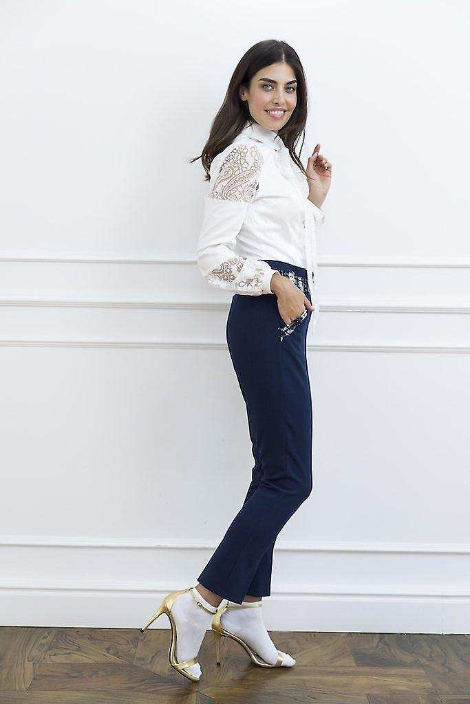 Navy woman pants with tweed detail