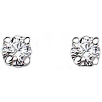Bella 3mm Cubic Zirconia Stud Earrings - Silver/White