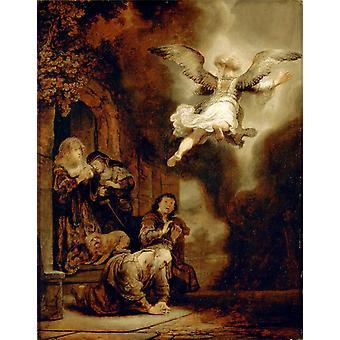 L'Ange quittant Tobias et sa famille, Rembrandt, 50x40cm