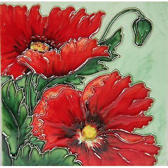YH Arts Ceramic Wall Art, Red Poppy Design 1 6 x 6