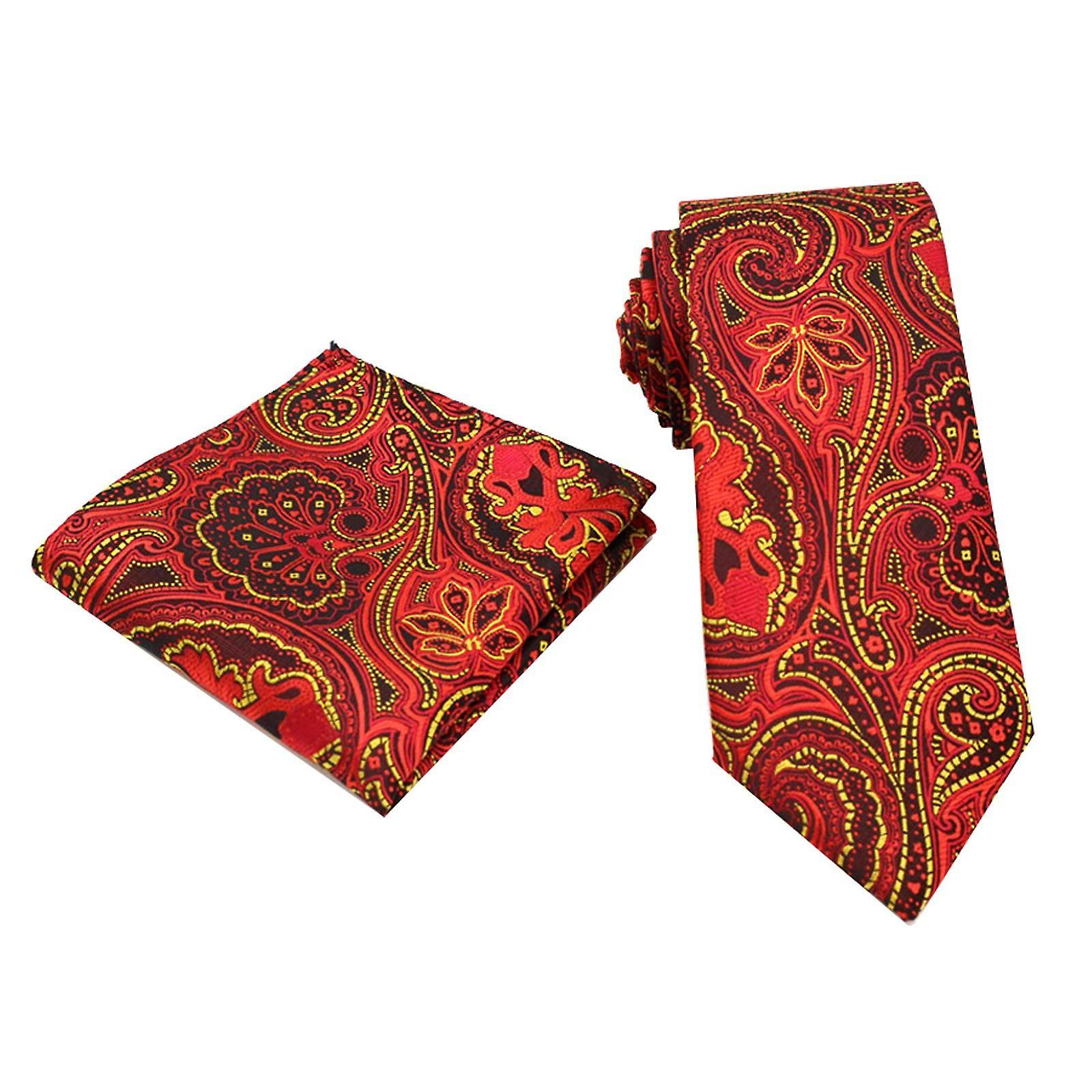 Bright red & yellow patterned pocket square & tie set