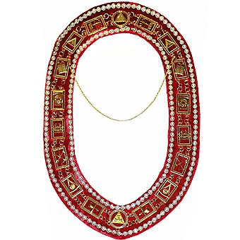 Royal Arch - Chain Collar with Rhinestones - Gold/Silver on Red Velvet + Free Case