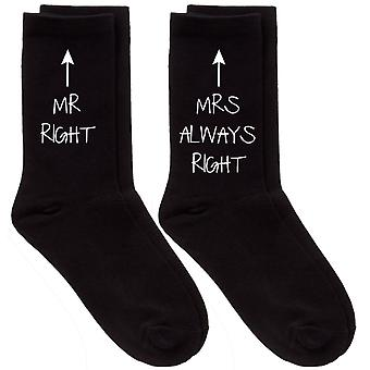 Couples Mr Right / Mrs Always Right Black Calf Sock Set
