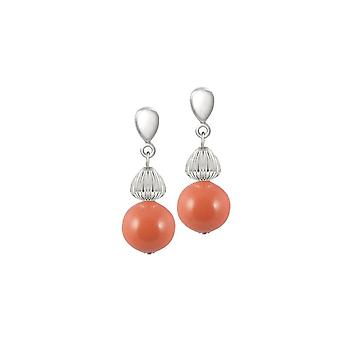 Eternal Collection Solitaire Coral Pearl Silver Tone Drop Pierced Earrings