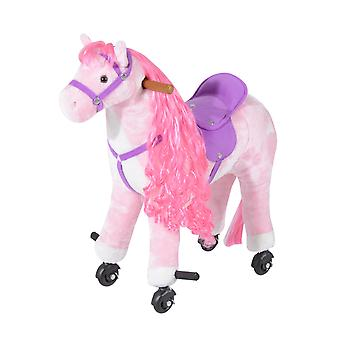 Homcom Kids Plush Ride On Walking Horse Toy with Wheels w/Neigh Sound (Pink)
