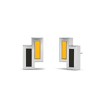 Kennesaw State University Sterling Silver Asymmetric Enamel Stud Earrings In Yellow and Black
