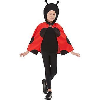 Marienkäfer Kostüm Kinder Kapuzenumhang Insekt Käfer Ladybug schwarz rot Kinderkostüm