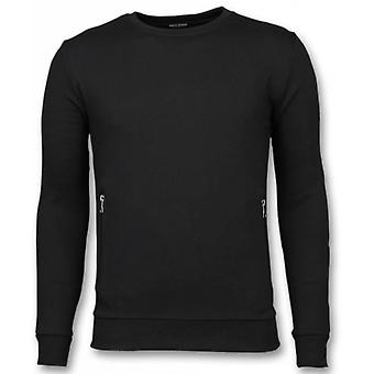 Casual Crewneck-Buttons sweater-Black