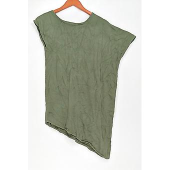 H by Halston Women's Sweater Asymmetrical Pullover Olive Green A276848