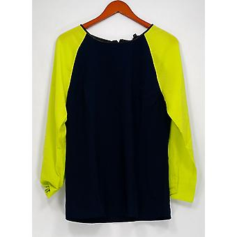 View by Walter Baker Women's Top Color Block Long Sleeve Blue A263081
