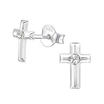 الصليب-ترصيع الإذن كريستال فضة 925-W22341x