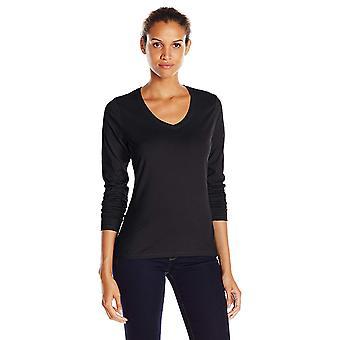Hanes Women's V-Neck Long Sleeve Tee, Ebony, Medium, Ebony, Size Medium