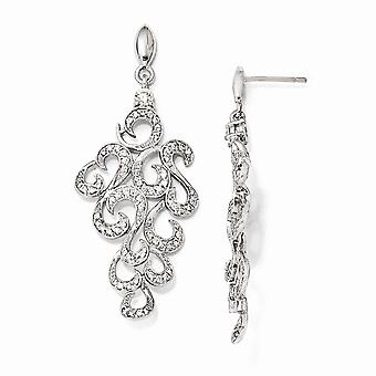 925 Sterling Silver Rhodium plated CZ Cubic Zirconia Simulated Diamond Fancy Dangle Post Earrings Jewelry Gifts for Wome