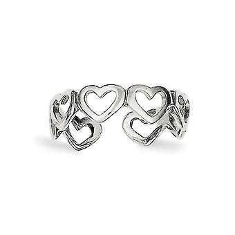 925 Sterling Silver Solid Cut Out Love Hearts Toe Ring Jewelry Gifts for Women