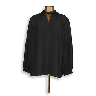Laurie Felt Women's Plus Top Woven Keyhole Black A311104