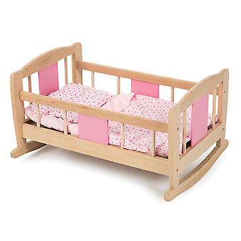 Tidlo Wooden Doll's Rocking Cradle Cot Bed Pretend Role Play Accessories
