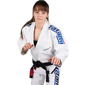 畳 Fightwear レディース エスティロ 6.0 プレミアム柔術 Gi - ホワイト/コバルト ブルー