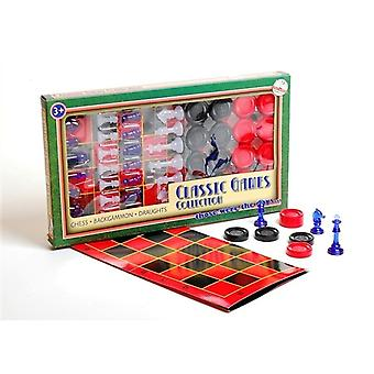 3 w 1 Classic Games Collection Chess Backgammona Draughts