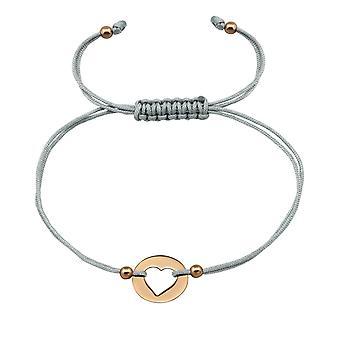 Sydän - 925 Sterling hopea + nailonnaru johdollinen Rannekorut - W33158x