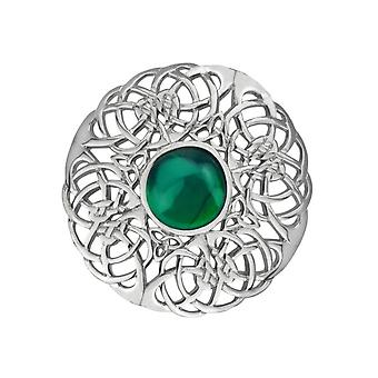 Celtic Eternity Knotwork Pin Clasp Garment Clothes Fibulae Brooch Large - Emerald Colour Stone