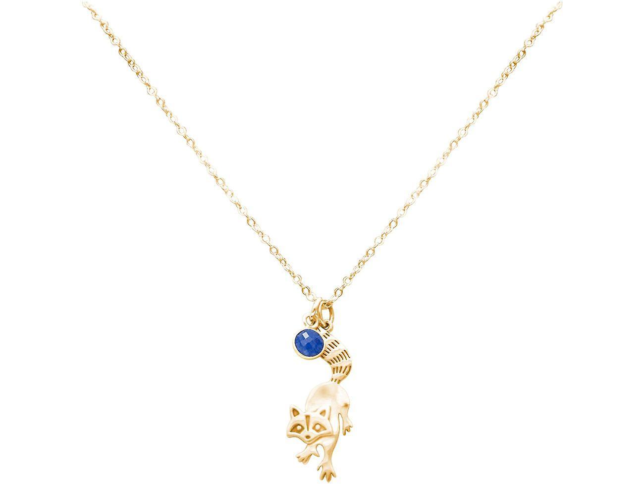 GEMSHINE Waschbär Anhänger 925 Silber, vergoldet oder rose mit blauem Saphir
