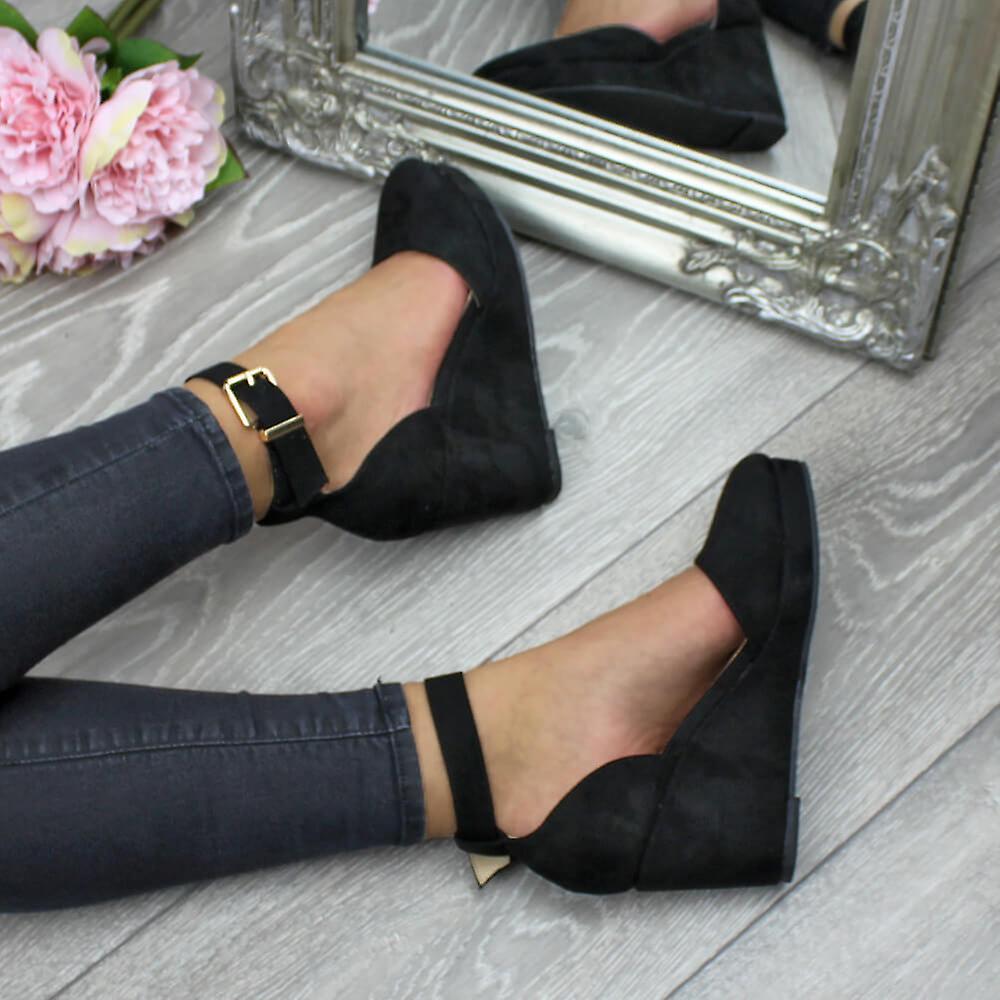 Ajvani Femmes Mi-talon Compensé Plate-forme Boucle Jusqu\'à Chaussures Sandales Bracelet Cheville