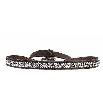Bracelet Les Interchangeables A31667 - Bracelet Tissu Marron Cristaux Swarovski Femme