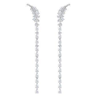 Swarovski øredobber 5493406-M Tal Silver mønstre fjær krystaller fargeløs kvinner