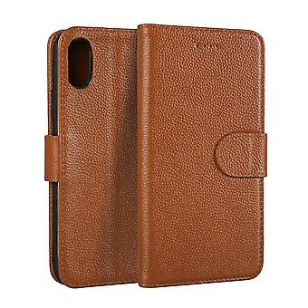 For iPhone XS,X Wallet Case,Elegant Fashion Cowhide Genuine Leather Cover,Coffee
