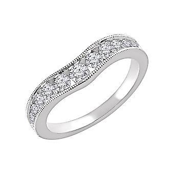 14k Vitt guld 0,75 Dwt Diamond Contour Band Ring Storlek 6,5 smycken gåvor för kvinnor