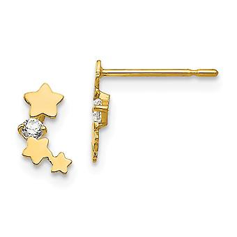 14k Yellow Gold Madi K CZ Cubic Zirconia Simulated Diamond for boys or girls Star Post Earrings