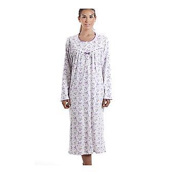 Camille Classic langermet lilla blomster ut 100% bomull hvit Nightdress