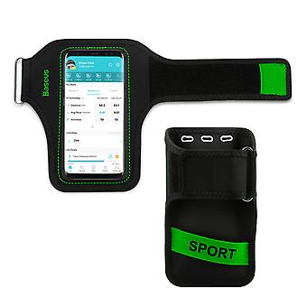 Sports Armband Smartphone up to 5'' Attachment Card Holder-Baseus Black/Green