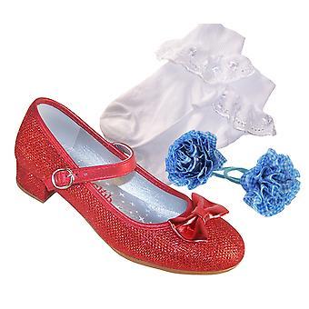 Jenter rød glitrende heeled de kle seg sko, sokker og håret sett