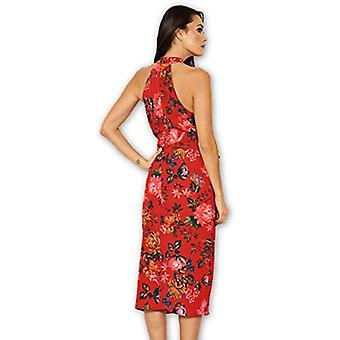 AX Paris Women's Red Floral Wrap Skirt Cut in Neck Dress(Floral Red, Size:8)
