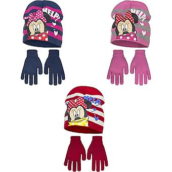 Disney Minnie Mouse Childrens Girls Help Winter Hat And Gloves Set