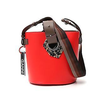 Ganni A1891403 Women's Red Leather Shoulder Bag