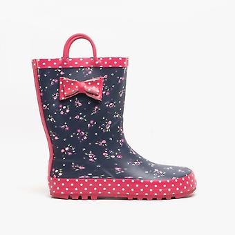 Woodland Coraline Girls Floral Wellington Boots Navy/pink Multi