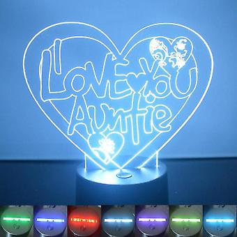 I Love You Auntie Heart Colour Changing LED Acrylic Light
