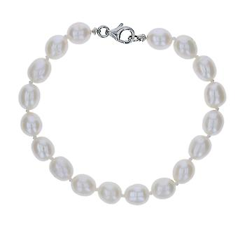"""Ladies Bleached White Freshwater Pearl Bracelet - The Olivia Collection 7"""""""