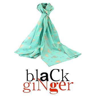 Black Ginger 100% Cotton Spearmint Scarf with Silver Chickens Design