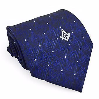 Masonic tie with square compass with g