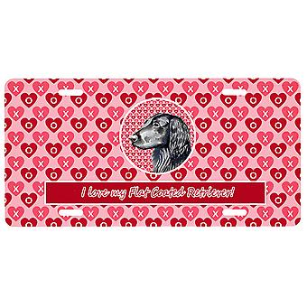 Flat Coated Retriever Valentine's Love and Hearts License Plate