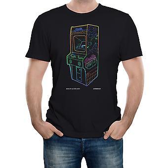 Falha de realidade 1 até neon retro arcade mens t-shirt