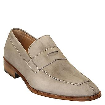Beige suede leather penny loafers shoes handmade